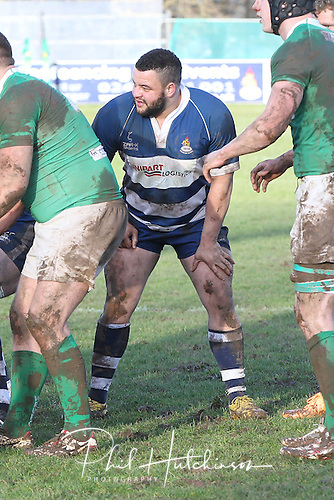 1.2.2014, Coventry, England.  Man of the Match Chad Thorne (Coventry) in line out action during the Division One fixture between Coventry and Wharfedale RFC from the Butts Park Arena.