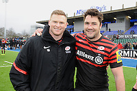 20130324 Copyright onEdition 2013©.Free for editorial use image, please credit: onEdition..Chris Ashton (left) celebrates with Brad Barritt of Saracens after the Premiership Rugby match between Saracens and Harlequins at Allianz Park on Sunday 24th March 2013 (Photo by Rob Munro)..For press contacts contact: Sam Feasey at brandRapport on M: +44 (0)7717 757114 E: SFeasey@brand-rapport.com..If you require a higher resolution image or you have any other onEdition photographic enquiries, please contact onEdition on 0845 900 2 900 or email info@onEdition.com.This image is copyright onEdition 2013©..This image has been supplied by onEdition and must be credited onEdition. The author is asserting his full Moral rights in relation to the publication of this image. Rights for onward transmission of any image or file is not granted or implied. Changing or deleting Copyright information is illegal as specified in the Copyright, Design and Patents Act 1988. If you are in any way unsure of your right to publish this image please contact onEdition on 0845 900 2 900 or email info@onEdition.com