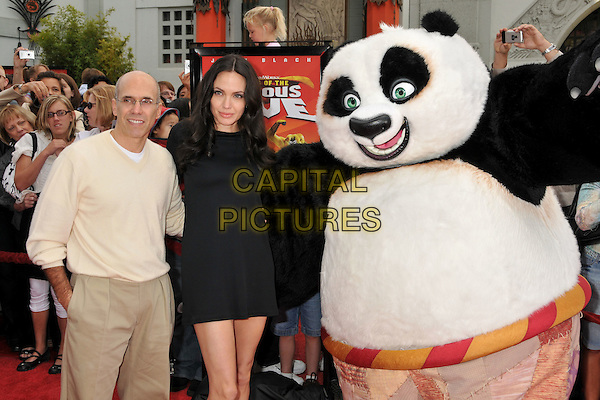 "JEFFREY KATZENBERG, ANGELINA JOLIE & PANDA.""Kung Fu Panda"" and ""Secrets of the Furious Five"" DVD Release at Grauman's Chinese Theatre, Hollywood, California, USA, 09 November 2008..half length black dress long sleeved .CAP/ADM/BP.©Byron Purvis/Admedia/Capital PIctures"