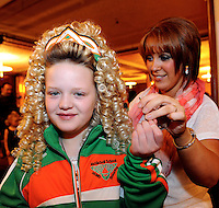 13-4-2014: Caitlyn Burke and her dancing teacher teacher Sinead McNichoill from South Derry pictured at the World Irish Dancing Championships in Killarney at the weekend.<br /> Picture by Don MacMonagle