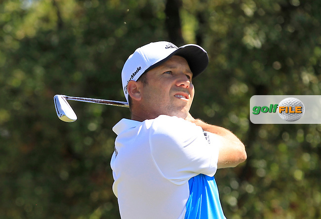 Sergio Garcia (ESP) on the 3rd tee during Round 2 of the Open de Espana  in Club de Golf el Prat, Barcelona on Friday 15th May 2015.<br /> Picture:  Thos Caffrey / www.golffile.ie