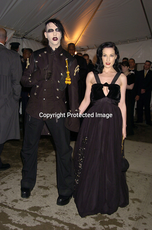 Marilyn Manson and Dita Von Teese..at The Metropolitan Museum of Art's Costume Institute Gala ..celebrating Chanel on May 2, 2005 in New York City.    Photo by Robin Platzer, Twin Images