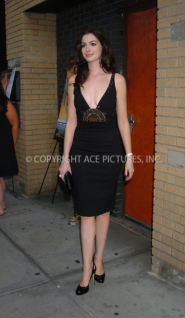 "WWW.ACEPIXS.COM . . . . .  ....July 24 2007, New York City....Actress Anne Hathaway attending the premiere of ""Becoming Jane"" at the Landmark Sunshine Cinema in Manhattan.....Please byline: AJ Sokalner - ACEPIXS.COM..... *** ***..Ace Pictures, Inc:  ..te: (646) 769 0430..e-mail: info@acepixs.com..web: http://www.acepixs.com"