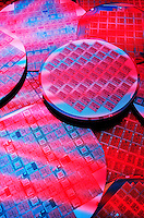 Computer Processing Chips on Silicon Wafers.