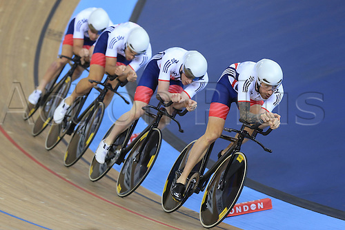 03.03.2016. Lee Valley Velo Centre, London England. UCI Track Cycling World Championships Mens Team Pursuit final.  Team Great Britain consisting of DIBBEN Jonathan - CLANCY Edward - DOULL Owain - WIGGINS Bradley on their way to silver second place