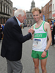 1956 Olympic gold medal winner Ronnie Delaney pictured with twice winner of the Boyne 10K Simon Ryan. Photo: Colin Bell/pressphotos.ie