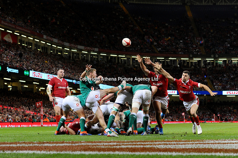 Kieran Marmion of Ireland in action during the under armour summer series 2019 match between Wales and Ireland at the Principality Stadium, Cardiff, Wales, UK. Saturday 31st August 2019