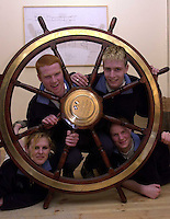 Jeanie Johnston 18-4-00.All set to crew the Jeanie Johnston when she sails from Tralee are Lizzy Geary, Waterford, Malachy Sheerin, Limerick, Sinead Marron, Carrickmacross and Sean McErlane, Coalisland pictured with the wheel of the ship in Blennervile yesterday..Picture by Don MaCMONAGLE