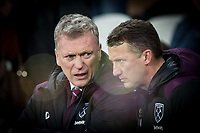 West Ham United Manager David Moyes & assistant Billy McKinlay ahead the Premier League match between West Ham United and Arsenal at the Olympic Park, London, England on 13 December 2017. Photo by Andy Rowland.