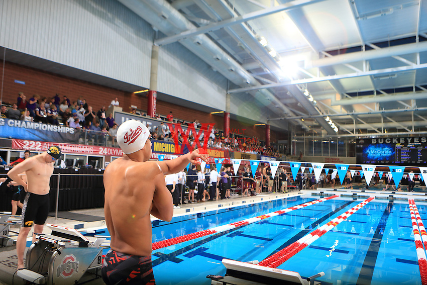 The Indiana University men's swimming and diving team compete at the 2017 Men's Big Ten Championships at the Ohio State University. February 24, 2017.<br /> (Photo by Walt Middleton Photography 2017)