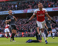 Arsenal v Burnley Premier League Pierre-Emerick Aubameyang of Arsenal celebrates scoring his second goal during the Premier League match at the Emirates Stadium, London PUBLICATIONxNOTxINxUK Copyright: xStevexO Sullivanx FIL-12716-0044  <br /> Foto Imago/Insidefoto