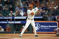 Cam Williams (55) of the Texas Longhorns at bat against the Arkansas Razorbacks in game six of the 2020 Shriners Hospitals for Children College Classic at Minute Maid Park on February 28, 2020 in Houston, Texas. The Longhorns defeated the Razorbacks 8-7. (Brian Westerholt/Four Seam Images)