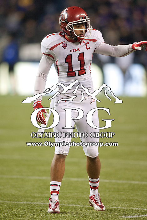 NOV 10, 2012:  Utah's Luke Matthews against Washington.  Washington defeated Utah  34-15 at CenturyLink Field in Seattle, WA...