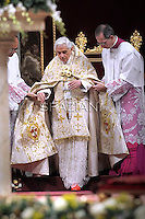 Pope Benedict XVI celebrates the Vespers and Te Deum prayers in Saint Peter's Basilica at the Vatican on December 31, 2011.