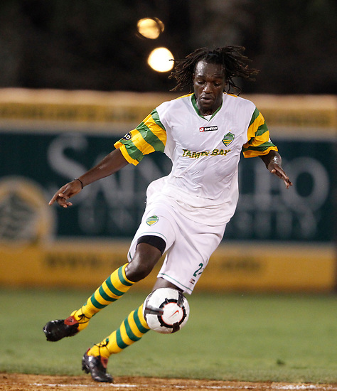 May 27, 2010; TAMPA, FLORIDA: FC Tampa Bay Rowdies Midfielder Stanley Nyazamba #27 during a 3-1 victory over the Minnesota Stars at Steinbrenner Field in Tampa, Florida. Photo by Matt May/FC Tampa Bay Rowdies