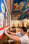 Miloje Milinkovic iconographer assistant Slobodan Kikovich painting the borders inside St. Sava Serbian Orthodox Church, Jackson, Calif.