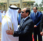 Egyptian President Abdel Fattah Sisi bids farewell to bu Dhabi Crown Prince Sheikh Mohammed bin Zayed al-Nahyan at Cairo International Airport in Cairo on June 20, 2017. Photo by Egyptian President Office