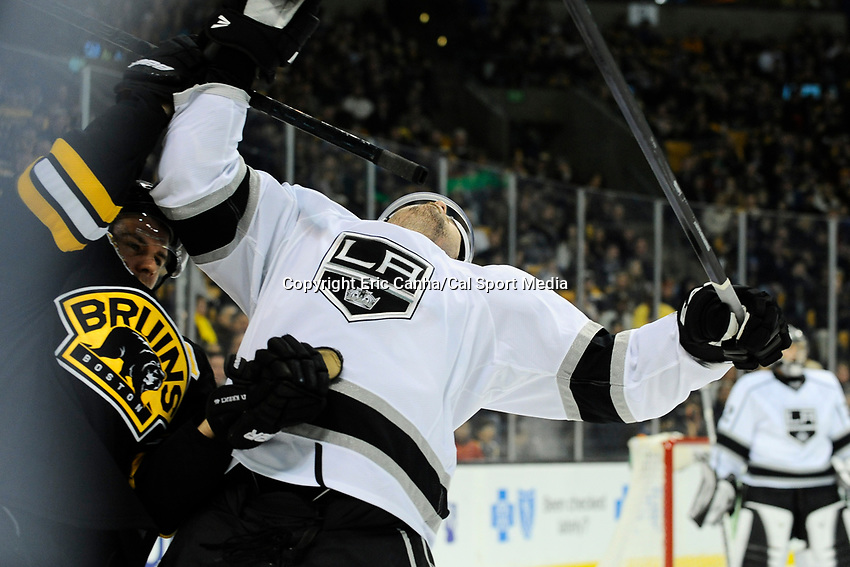 January 20, 2014 - Boston, Massachusetts, U.S. - Los Angeles Kings defenseman Drew Doughty (8) reacts to a high stick from Boston Bruins center David Krejci (46) during the NHL game between Los Angeles Kings and the Boston Bruins held at TD Garden in Boston Massachusetts. The Bruins defeated the Kings 3-2 in regulation time.   Eric Canha/CSM