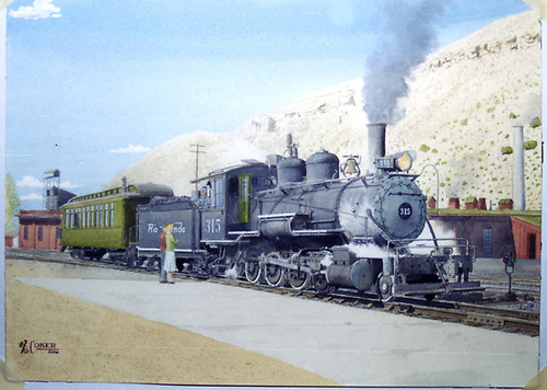 3/4 engineer's-side artist's watercolor of D&amp;RGW #315 switching a coach in the Durango yards.<br /> D&amp;RGW  Durango, CO  Taken by Coker, John (Artist)