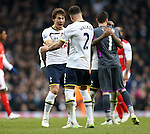 Tottenham's Benjamin Stambouli celebrates at the final whistle <br /> <br /> Barclays Premier League- Tottenham Hotspurs vs Arsenal  - White Hart Lane - England - 7th February 2015 - Picture David Klein/Sportimage