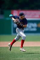 Lowell Spinners third baseman Korby Batesole (12) throws to first base for the out during a game against the Batavia Muckdogs on July 15, 2018 at Dwyer Stadium in Batavia, New York.  Lowell defeated Batavia 6-2.  (Mike Janes/Four Seam Images)
