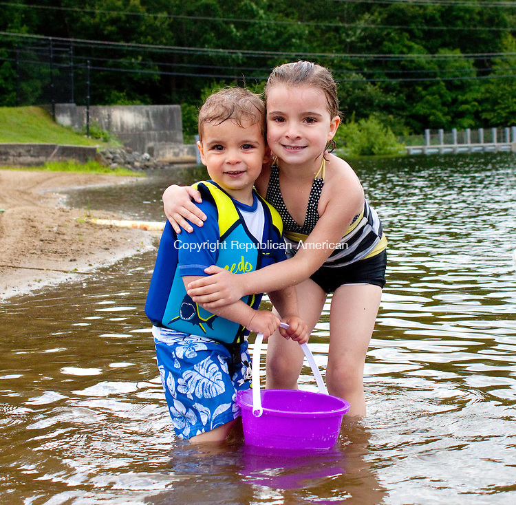 WOLCOTT - JUNE 18 2014 061814DA03- Dominic Lucarelli, 2, left, of Wolcott and his sister Gianna, 4, enjoy time spent together on a hot and humid Wednesday afternoon at Woodtick Recreation Area in Wolcott.<br /> Darlene Douty Republican American