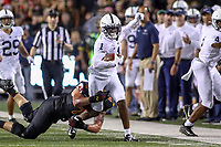 College Park, MD - September 27, 2019: Penn State Nittany Lions wide receiver KJ Hamler (1) gets tackled during game between Penn St and Maryland at  Capital One Field at Maryland Stadium in College Park, MD.  (Photo by Elliott Brown/Media Images International)