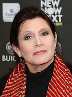 """27 December 2016 - Carrie Fisher, the iconic actress who portrayed Princess Leia in the Star Wars series, died Tuesday following a massive heart attack. Carrie Frances Fisher an American actress, screenwriter, author, producer, and speaker, was the daughter of singer Eddie Fisher and actress Debbie Reynolds. File Photo: 7 April 2011 - Hollywood, California - Carrie Fisher. Logo's """"NewNowNext Awards"""" 2011 Held At Avalon. Photo Credit: Kevan Brooks/AdMedia"""