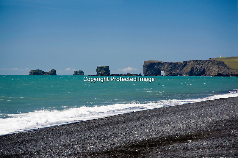Dyrholaey Rocks and Cliffs at Reynisfjara Beach in Vik on the South Coast of Iceland