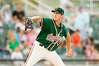 Greensboro Grasshoppers starting pitcher Chad James (39) in action against the Kannapolis Intimidators at CMC-Northeast Stadium on July 12, 2013 in Kannapolis, North Carolina.  The Grasshoppers defeated the Intimidators 2-1.   (Brian Westerholt/Four Seam Images)