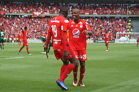 BOGOTA -COLOMBIA, 19-02-2017.Lucumi player of America de Cali celebrates his goal against Equidad.Action game between  La Equidad and America de Cali during match for the date 4 of the Aguila League I 2017 played at Ne stadium . Photo:VizzorImage / Felipe Caicedo  / Staff