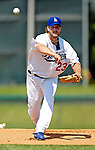 13 March 2007: Los Angeles Dodgers pitcher Derek Lowe on the mound against the Detroit Tigers in a spring training game at Holman Stadium in Vero Beach, Florida.<br /> <br /> Mandatory Photo Credit: Ed Wolfstein Photo