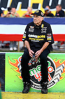 Aug 29, 2014; Clermont, IN, USA; NHRA team owner Jim Dunn during qualifying for the US Nationals at Lucas Oil Raceway. Mandatory Credit: Mark J. Rebilas-USA TODAY Sports