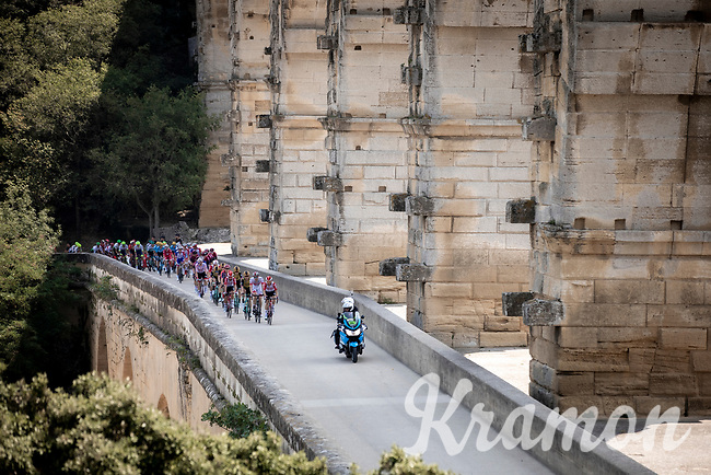 Peloton rolling over the pittoresque 'Pont du Gard' <br /> <br /> Stage 16: Nimes to Nimes (177km)<br /> 106th Tour de France 2019 (2.UWT)<br /> <br /> ©kramon