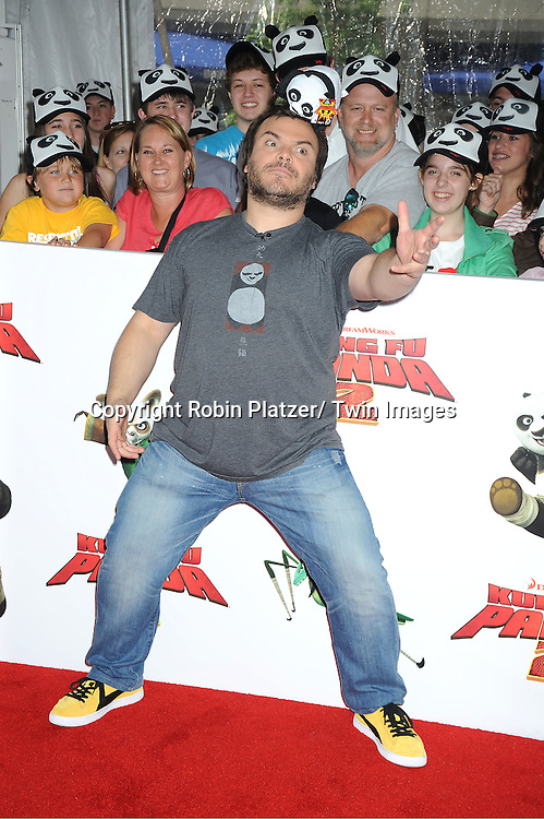 "Jack Black posing for photographers at The New York Premiere of .""Kung Fu Panda 2""  at The Ziegfeld Theatre on May 24, 2011."