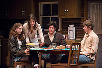 From left, Shea Backes '18, Lindsay Fisher '17, Alexander Waxler '18 and Rhys Hyatt '17. The Occidental College Theater Department presents Refuge by Jessica Goldberg, directed by Culley guest artist Chris Fields, Keck Theater, Nov. 5, 2014. (Photo by Marc Campos, Occidental College Photographer)