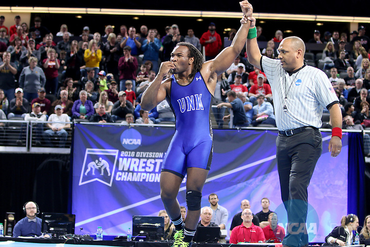 12 MARCH 2016: Romero Cotton from Neb.-Kearney celebrates his win over Joe Gomez from Northern St. 4-1 in their 197 pound weight class at the 2016 NCAA Men's Division II Wrestling Championship at the Denny Sanford Premier Center in Sioux Falls, S.D. Photo by Dave Eggen/NCAA Photos