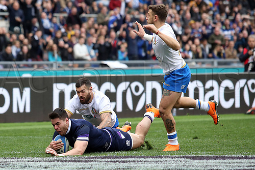 17th March 2018, Stadio Olimpico, Rome, Italy; NatWest Six Nations rugby, Italy versus Scotland; Sean Maitland  of Scotland scores a try