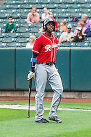 James Jones (21) of the Tacoma Rainiers at bat against the Salt Lake Bees in Pacific Coast League action at Smith's Ballpark on September 1, 2015 in Salt Lake City, Utah. The Bees defeated the Rainiers 10-1.  (Stephen Smith/Four Seam Images)