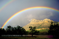 Double Rainbow over Canadian Rockies, Waterton Lakes National Park, Alberta, Canada