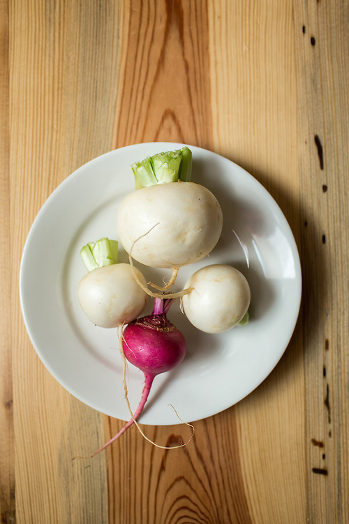 Raleigh, North Carolina - Thursday March 24, 2016 - Hakurei turnips and a red turnip.