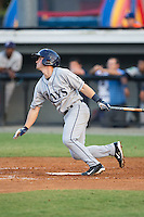 Blake Butera (2) of the Princeton Rays follows through on his swing against the Burlington Royals at Burlington Athletic Stadium on June 24, 2016 in Burlington, North Carolina.  The Rays defeated the Royals 16-2.  (Brian Westerholt/Four Seam Images)
