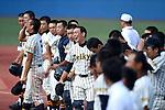 (Teikyo), <br /> JULY 29, 2014 - Baseball : Teikyo High School players look dejected after losing the Japanese High School Baseball Championship preliminary East Tokyo division final game against Nishogakusha Highschool at Jingu Stadium in Tokyo, Japan.<br /> (Photo by Hitoshi Mochizuki/AFLO)