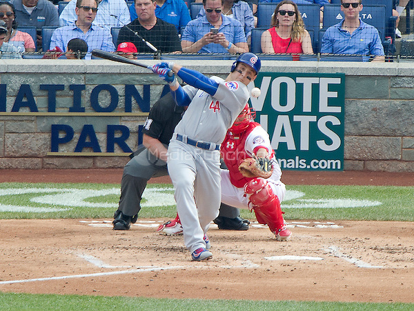 Chicago Cubs first baseman Anthony Rizzo (44) bats in the fourth inning against the Washington Nationals at Nationals Park in Washington, D.C. on Wednesday, June 15, 2016.  The Nationals won the game 5 - 4 in twelve innings.<br /> Credit: Ron Sachs / CNP/MediaPunch ***FOR EDITORIAL USE ONLY***
