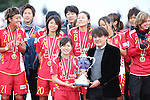 INAC Kobe Leonessa team group,<br /> DECEMBER 8, 2013 - Football / Soccer :<br /> INAC Kobe Leonessa's captain Nahomi Kawasumi receives the trophy after winning the mobcast cup International Women's Club Championship 2013 Final match between INAC Kobe Leonessa 4-2 Chelsea Ladies FC at Ajinomoto Field Nishigaoka in Tokyo, Japan. (Photo by Hitoshi Mochizuki/AFLO)
