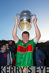 Beale captain James McMahon lifts the cup  at the Bernard O'Callaghan Memorial Senior Football Championship final last Saturday Beale V Listowel Emmets