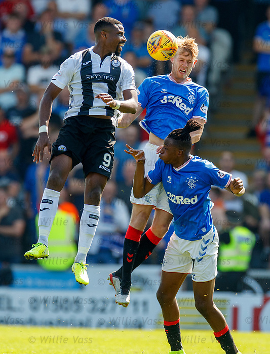 25.08.2019 St Mirren v Rangers: Filip Helander and Joe Aribo with Jon Obika