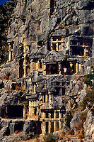 Lycian rock tombs visited by the Apostle Paul on his 1st visit to Rome in 61 A D Myra Turkey