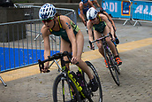 June 11th 2017, Leeds, Yorkshire, England; ITU World Triathlon Leeds 2017; Charlotte McShane follows team mate Ashleigh Gentle