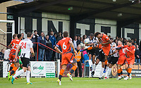 Sido Jombati of Wycombe Wanderers heads towards goal during the Pre Season Friendly match between Maidenhead United and Wycombe Wanderers at York Road, Maidenhead, England on 28 July 2017. Photo by Andy Rowland.
